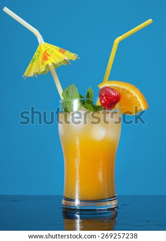 Mojito  strawberries  cocktail. closeup on yellow background. - stock photo