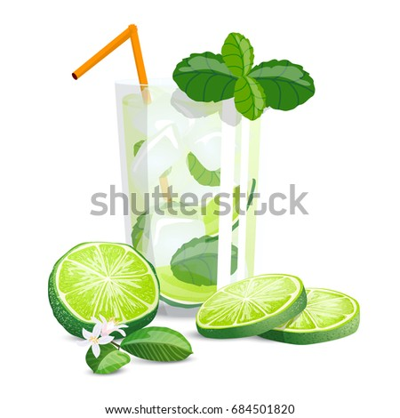 mojito with mint high detailed color citrus illustration with sliced limes mint and cocktail - Detailed Pictures To Color
