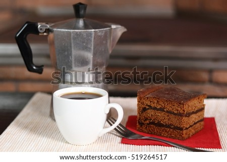 Moka Pot, Coffee Cup and Gingerbread Layer Cake with Jam