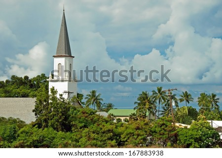 Mokuaikaua church in Kona on Big Island of Hawaii - stock photo