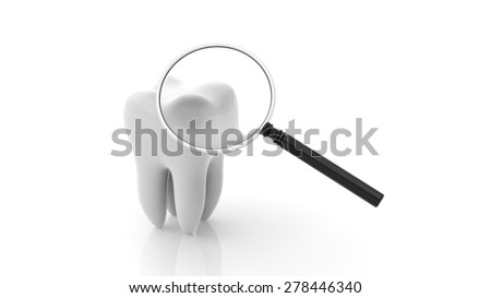 Molar with magnifying glass isolated on white background - stock photo