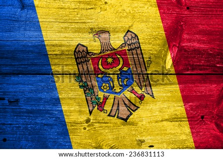 Moldova Flag painted on old wood plank texture