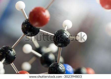 Molecular, DNA and atom model in science research lab