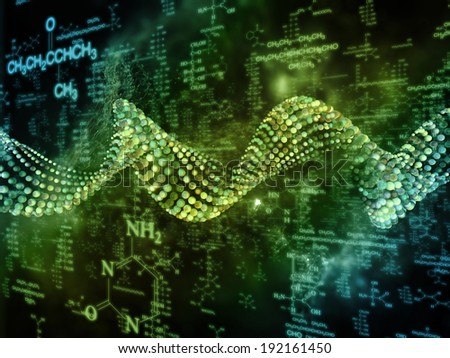 Molecular Dreams series. Arrangement of conceptual atoms, molecules and fractal elements on the subject of biology, chemistry, technology, science and education - stock photo