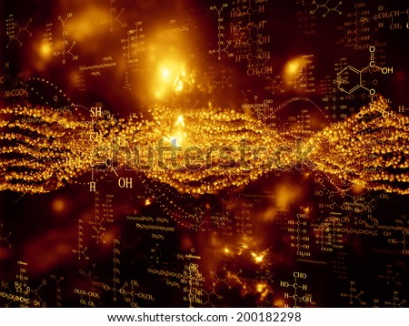 Molecular Dreams series. Artistic background made of conceptual atoms, molecules and fractal elements for use with projects on biology, chemistry, technology, science and education - stock photo