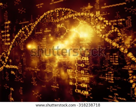 Molecular Dreams series. Backdrop composed of conceptual atoms, molecules and fractal elements and suitable for use in the projects on biology, chemistry, technology, science and education - stock photo