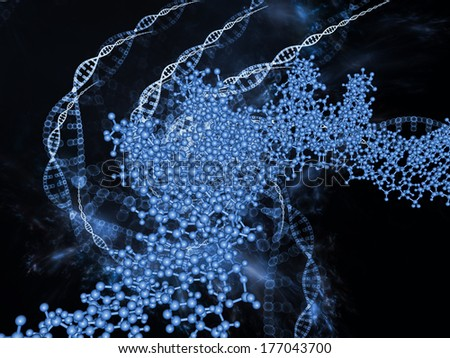 Molecular Dreams series. Composition of conceptual atoms, molecules and fractal elements suitable as a backdrop for the projects on biology, chemistry, technology, science and education - stock photo