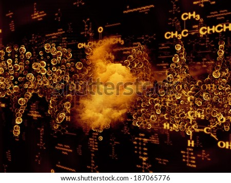 Molecular Dreams series. Visually pleasing composition of conceptual atoms, molecules and fractal elements to serve as  background in works on biology, chemistry, technology, science and education