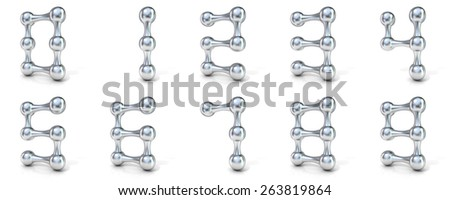 Molecular font numerical digits collection, 3D render illustration isolated on white background. - stock photo