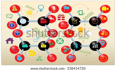 Molecular icons background with social texts