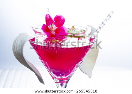 Molecular mixology - Cocktail with caviar and flower petals - stock photo