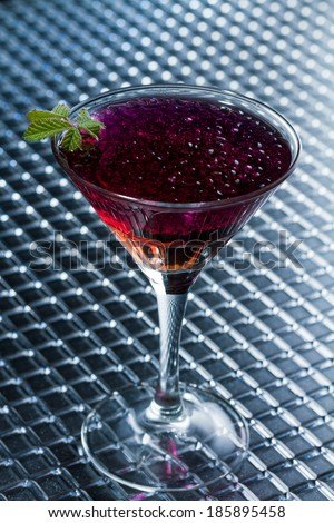 Molecular mixology - whisky and strawberry Cocktail with  caviar  - stock photo
