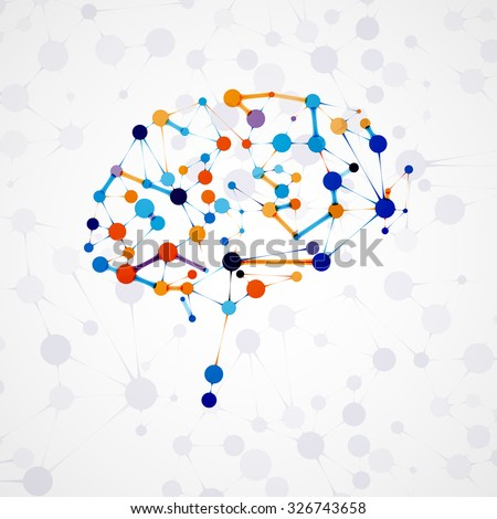 Molecular structure in the form of brain, futuristic illustration - stock photo