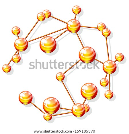 molecular structure, isolated on white background raster - stock photo
