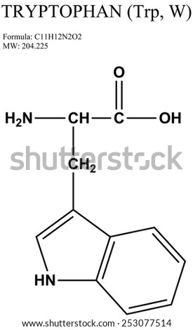 Molecular structure of amino acid tryptophan (Trp, W) - stock photo