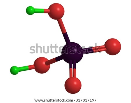 Molecular structure of sulphuric acid (H2SO4)
