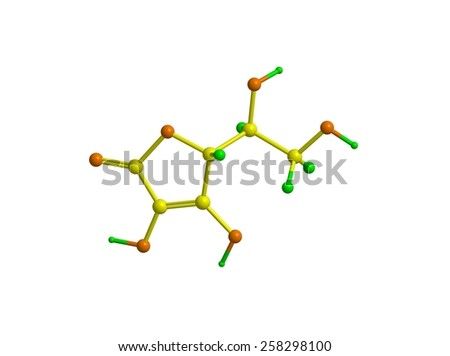 Molecular structure of vitamin C (ascorbic acid) - stock photo