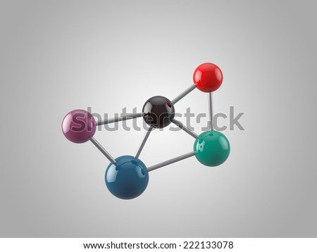 Molecular structure with 5 atoms - stock photo