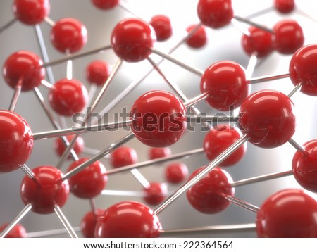 Molecular structure with red spheres interconnected with depth of field. - stock photo