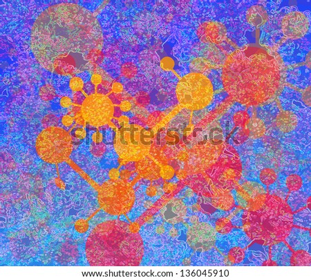 Molecule background - stock photo