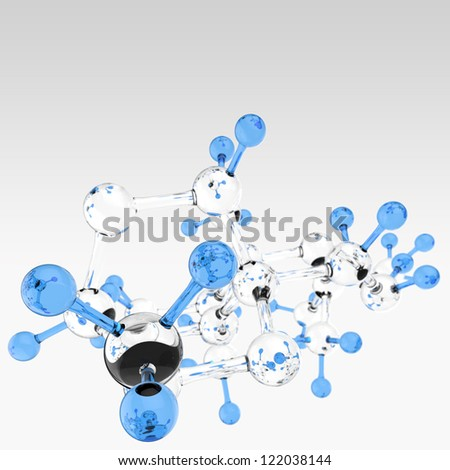 Molecule 3d background - stock photo