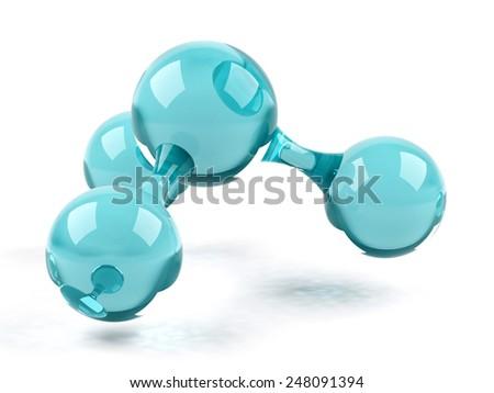 Molecule.3d illustration. - stock photo