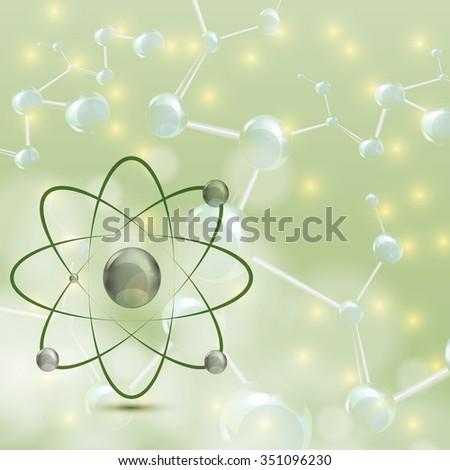 Molecule illustration green background  - stock photo