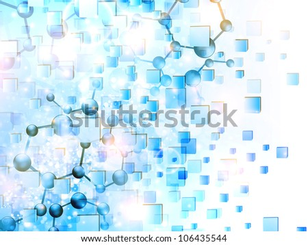 molecule illustration over abstract cubes background - stock photo
