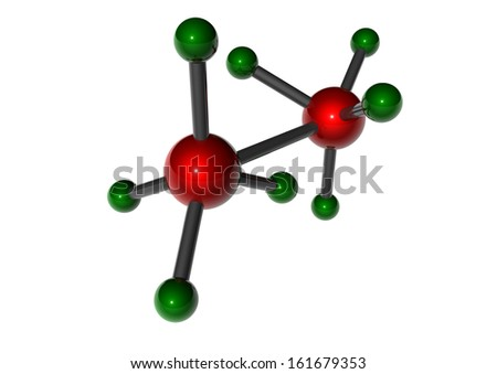 molecule made of red and green balls with connection between