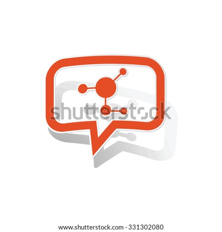 Molecule message sticker, orange chat bubble with image inside, on white background - stock photo