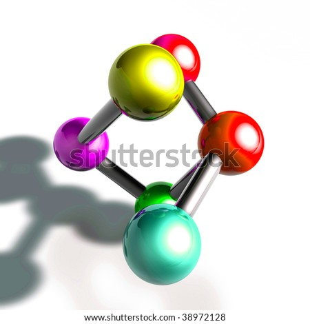Molecule model molecular atomic structure illustration, glossy chrome