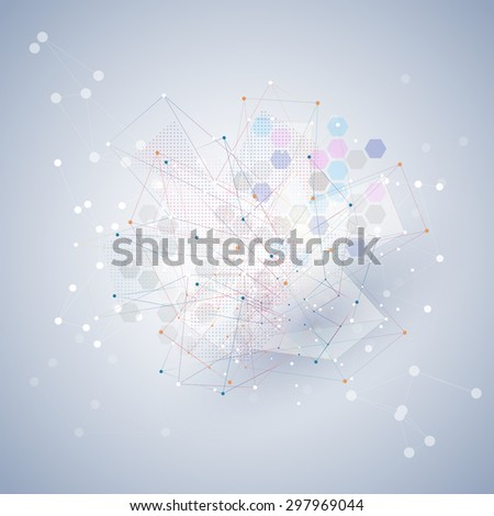 Molecule structure, blue background for communication, science illustration. - stock photo