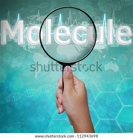 Molecule , word in Magnifying glass , background medical