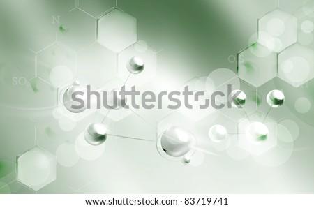 Molecules background, bitmap copy - stock photo