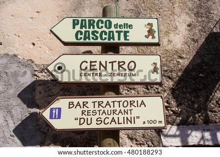 Molina, Italy - May 07 2016: The pointer to landmarks of Molina, the little resort town in a Dolomites mountain