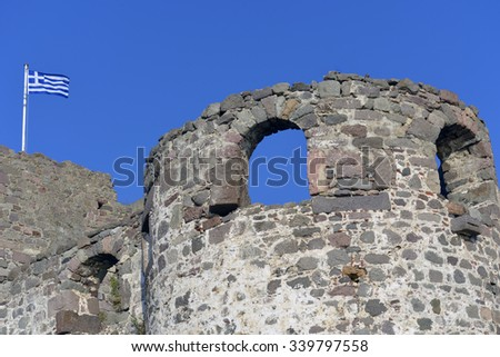 Molivos Castle Lesvos Greece - stock photo