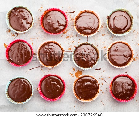 molten chocolate cakes are ready to be baked - stock photo