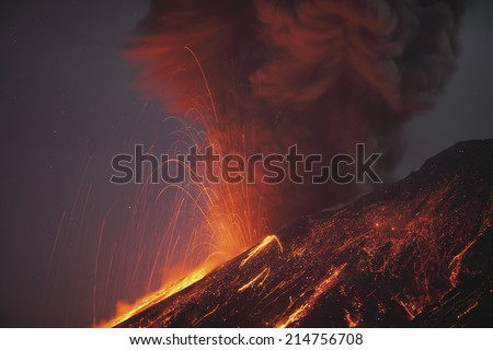 Molten lava erupting from Sakurajima Kagoshima Japan - stock photo