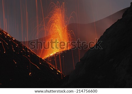 Molten lava erupts from Stromboli Sicily - stock photo