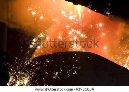 Molten steel. - stock photo