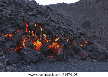 molten volcanic rock - stock photo