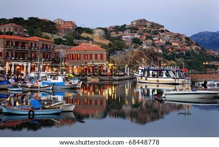 Molyvos town in Lesvos island - stock photo