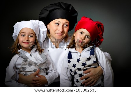 mom and children in cook chef suit