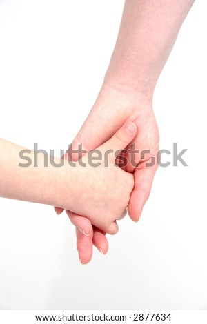 Mom and daughter holding hands - stock photo