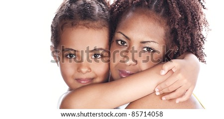 Mom and daughter in a cuddle, isolated on white