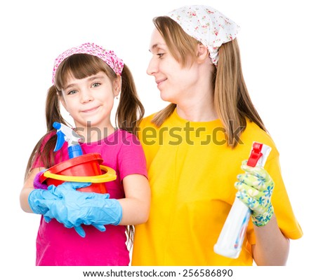 Mom and daughter ready cleaned in the home. isolated on white background - stock photo