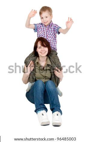 Mom and her young son playing on a white background