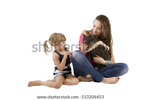 mom and little girl with a cat (child and pet)