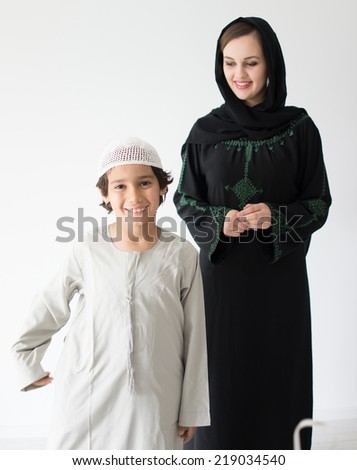 Mom and son - stock photo
