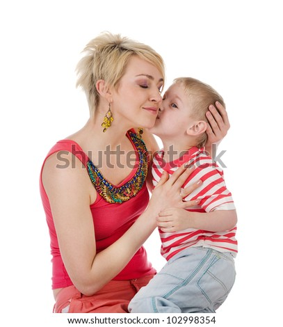 Mom And Son. isolated on white background - stock photo